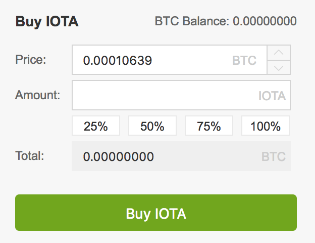 Step 8: How to buy IOTA - Buying form for BTC and IOTA